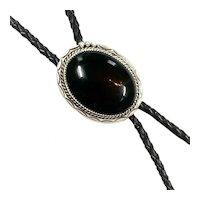Navajo Sterling Silver Onyx Bolo Jewelry By N/S Estate CCBOLO20