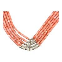 Navajo Sterling Silver Pink Coral Bracelet By N/S Estate CCBRLS7