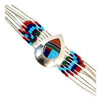 Navajo Sterling Silver Turquoise, Salmon Coral, Opal Bracelet By N/S CCBRLS9