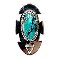 Navajo Sterling Silver 19 Gr Mexican TurquoIse Cabochon Ring CCRS7
