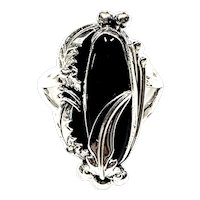 Navajo Sterling Silver 6 Gr Onyx Ring By NAKAI Estate CCRS9