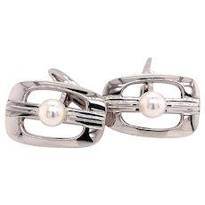Mikimoto Sterling Silver Cufflinks 6.14 Grams 6 MM Pearls M125
