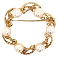Mikimoto 14 Kt Gold Pin Brooch 7.83 Grams 6.07 MM Pearls M129