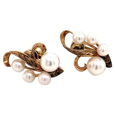 Mikimoto 14 Kt Gold Earrings 2.57 Grams 4-6 MM Pearls M130