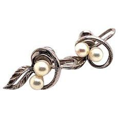 Mikimoto Sterling Silver Earrings 2.25 Grams 4 MM Pearls M131