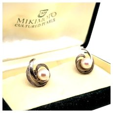Mikimoto Sterling Silver Earrings 2.45 Grams 7 MM Pearls M135