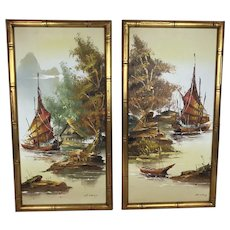 Pair of Vintage Chinoiserie Oil Paintings of Boats on the Water in Gold Bamboo Frame, Signed