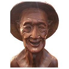1960's Vintage Hand Carved Asian Field Worker Bust in Rice Farmer Hat