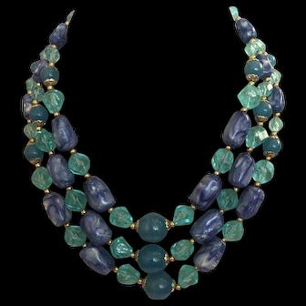 1950's Three Row Plastic Bead Necklace