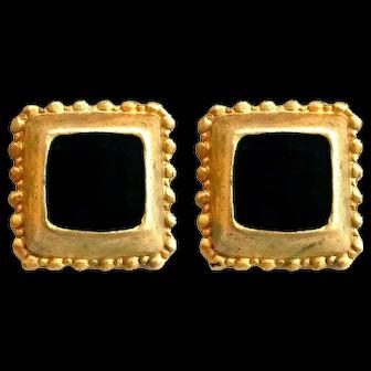 Black & Gold-tone 1960/ 1970 Clip on earrings