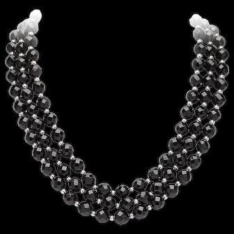 Onyx Three Row Collar Necklace