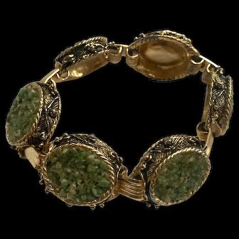 Yellow Green Stone 1960's Oval Panel Bracelet