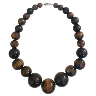 Large Wooden & Plastic 1970's Bead Necklace