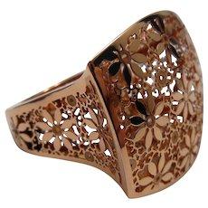 Italian 14k Rose Gold Filigree Ring Size 7