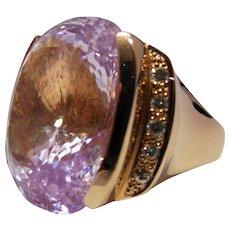 14k Rose Gold, Diamond and Kunzite Ring 57cts Size 8 1/2