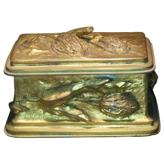 French Art Nouveau Gilt Bronze Stamp Box by Albert Marionnet Late 1800's Signed