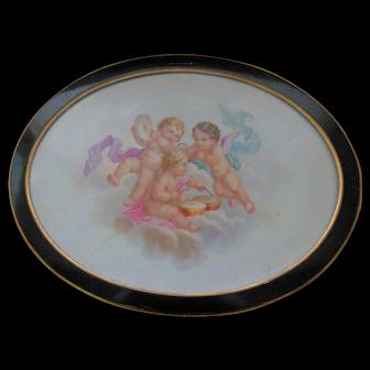 Large Minton Porcelain Plaque Depicting Cherubs