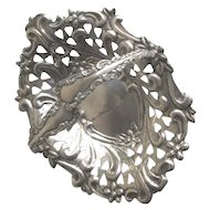 Antique Sterling Silver Candy Dish with Handles Romantic Hearts