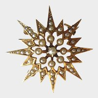 Antique Starburst 14K Gold Seed Pearl Brooch Pendant Classic Victorian