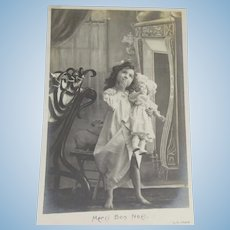 French Art Nouveau Postcard with Doll