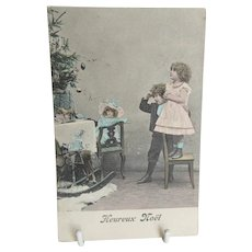 Antique French Postcard with Children Christmas Tree Toys