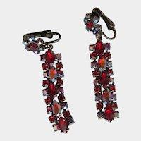 Sherman Red Aurora Borealis Black Japanned Chandelier Drop Rhinestone Vintage Earrings Signed Clip on Earrings