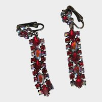 Sherman Red Aurora Borealis Black Japanned Chandelier Drop Rhinestone Vintage Earrings Signed Clip on Earrings