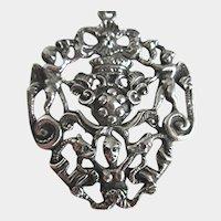 Birks Sterling Silver Custom Made Large Vintage Mythological Necklace Pendant