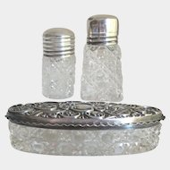 Antique Crystal and Sterling Silver Vanity Set