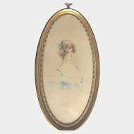 Antique Portrait Watercolor of Beautiful Young Woman