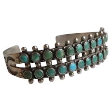 Native American Zuni Sterling Silver Turquoise Petit Point Cuff Bracelet