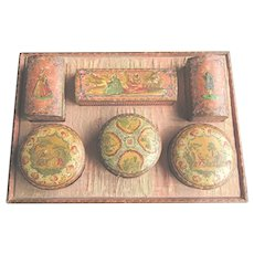 Antique French Hand Painted Decoupage Vanity Box with Fitted Hand Painted Boxes