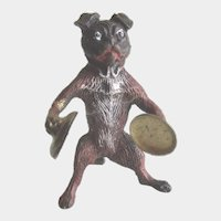 Antique Miniature Cold Painted Vienna Bronze Dog Playing Cymbals
