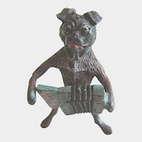 Antique Miniature Cold Painted Vienna Bronze Dog Playing Accordion