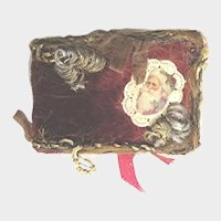 Vintage Red Silk Velvet Doll Miniature Christmas Album with Metallic Lace Border