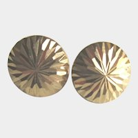 14k Gold Button Earrings Vintage Incised Starburst Pattern Studs