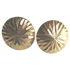 14k Gold Button Earrings Vintage Incised Starburst Pattern Studs