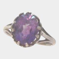 Sterling Silver Dark Amethyst Gemstone Vintage Ring Size 8