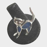 Sterling Silver Cat Brooch Vintage Blue Enamel 950 Silver Smiling Cat Pin