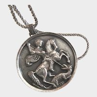 Large St. George Slaying the Dragon 800 Silver Pendant with Sterling Chain