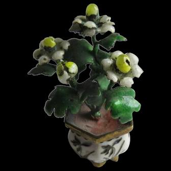 Antique Miniature Cloisonne Enamel Doll Vase