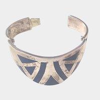Vintage Sterling and Lapis Lazuli Heavy Mexico Bracelet Wonder Woman Cuff