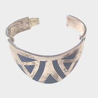 Vintage Sterling and Lapis Lazuli Heavy Mexico Bracelet Wonder Woman Cuff