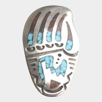 Vintage Sterling Bear Paw Southwestern Turquoise Chip Inlay Brooch