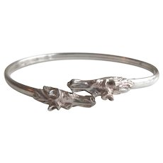 Vintage Sterling Silver Double Horse Head Bangle Bracelet