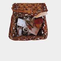 Antique Doll Miniature Sewing Basket with Sewing Tools