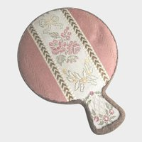 French Metallic Lace Miniature Hand Mirror Suitable for Dolls