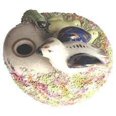 Antique Staffordshire Inkwell with Bird Nest and Snake