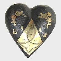Antique Small Victorian Pique Heart Shaped Brooch