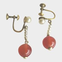 Antique Agate and Pearl Drop Fine Earrings